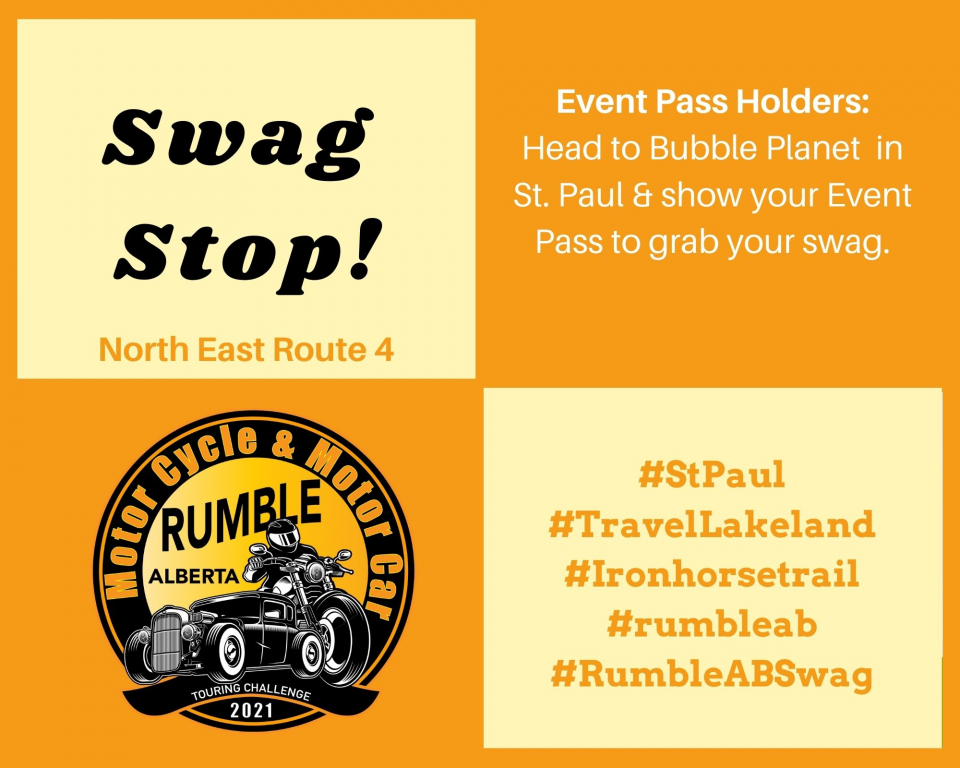 Event Pass Holders.  Here are the Swag Stops on the North East Routes that are ready to go.  Let's Rumble!